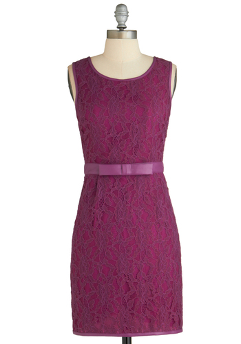 Lunch Party Dress - Faux Leather, Mid-length, Solid, Lace, Belted, Party, Shift, Sleeveless, Purple, Pockets, Bows, Exclusives