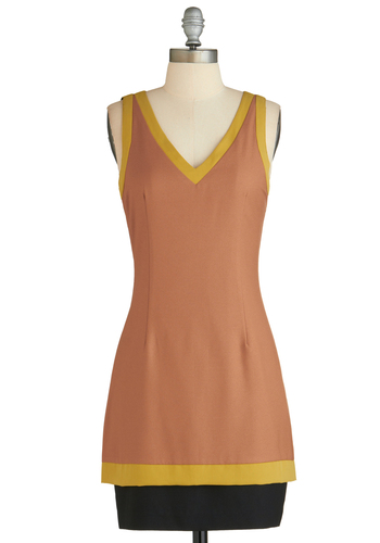 Sample 2322 - Tan, Yellow, Black, Cutout, Party, Sheath / Shift, Sleeveless