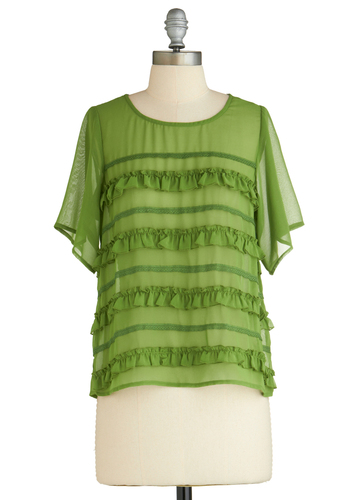 Sample 2310 - Green, Ruffles, Short Sleeves, Mid-length