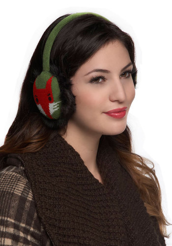 Now and Den Earmuffs - Green, Multi, Print with Animals, Knitted, Kawaii, Winter