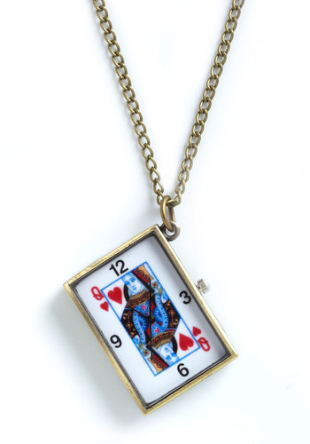 Card to Resist Necklace - White, Multi, Novelty Print, Gold
