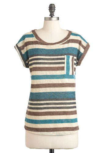 Whistle a Happy Pontoon Top in Blue - Multi, Blue, Brown, Tan / Cream, Stripes, Pockets, Casual, Short Sleeves, Mid-length