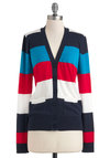 Happy Go Lucky Day Cardigan - Cotton, Mid-length, Multi, Red, Blue, White, Stripes, Buttons, Casual, Long Sleeve, Scholastic/Collegiate, Pockets, Tis the Season Sale
