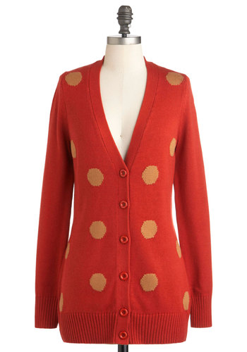 Up to Dot Cardigan - Orange, Tan / Cream, Polka Dots, Buttons, Quirky, Long Sleeve