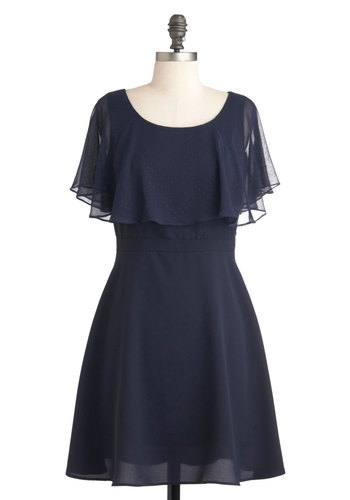A Friend of Elegance Dress - Mid-length, Blue, Solid, Ruffles, Cocktail, A-line, Short Sleeves