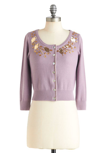Good as Goldfinch Cardigan by Knitted Dove - Purple, Beads, Buttons, Sequins, Gold, Short, 3/4 Sleeve