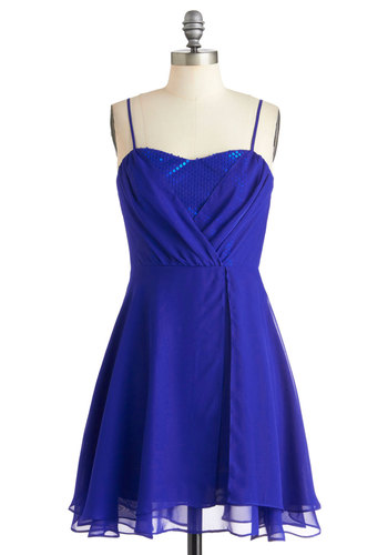 Evening Glamour Dress in Cobalt by Jack by BB Dakota - Blue, Party, A-line, Solid, Sequins, Prom, Spaghetti Straps, Holiday Party, Short, Exclusives