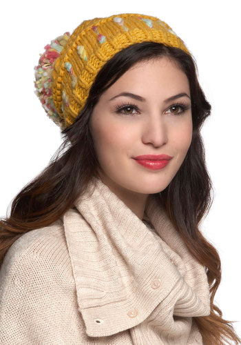 Snuggly Surprise Hat in Goldenrod - Yellow, Multi, Knitted, Poms, Winter