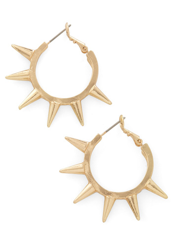 Spike a Chord Earrings - Gold, Studs, Party, Casual, Statement, Urban