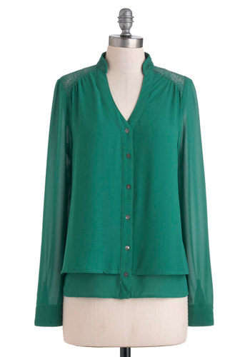 Container Gardener Top - Green, Solid, Lace, Long Sleeve, Sheer, Mid-length, Tiered