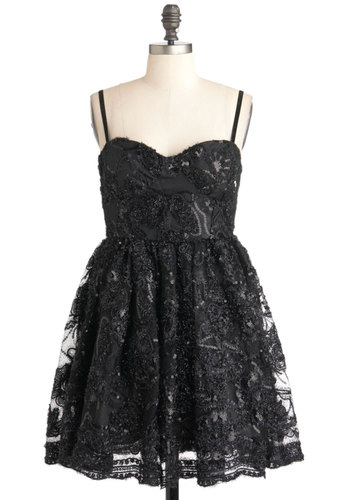 Out on the Tinsel Town Dress - Short, Black, Solid, Beads, Sequins, Party, A-line, Spaghetti Straps, Holiday Party