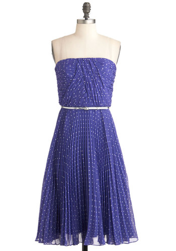 Linger a Little Longer Dress in Violet - White, Polka Dots, Belted, Ruching, Daytime Party, Strapless, Purple, Wedding, Exclusives, Long, Special Occasion, Spring, Prom, Bridesmaid