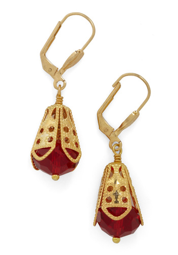I Dew Earrings in Garnet by Sweet Evie - Gold, Red, Party, Red