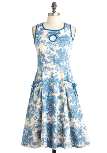 Potpourri Oh My Dress - Blue, Tan / Cream, Pockets, A-line, Sleeveless, Spring, Long, Floral, Daytime Party, Bows, Blue, International Designer, Graduation, Crew
