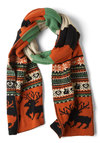 Let's Be Fair Isle Scarf - Orange, Green, Tan / Cream, Winter, Holiday Sale, Holiday