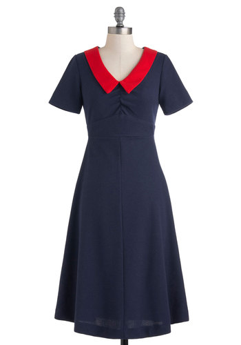 Matinee Musical Dress - Blue, Red, Solid, Casual, Nautical, A-line, Short Sleeves, Long, Vintage Inspired, Spring