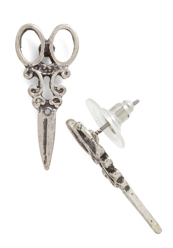 Shear Style Earrings in Silver - Silver, Quirky, Silver