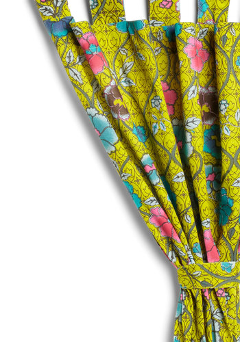 Blossom Kind of Wonderful Curtain by Karma Living - Green, Dorm Decor, Multi, Floral