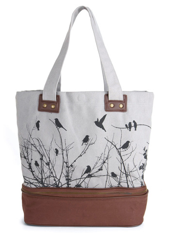 Away We Crow Bag - Tan, Solid, Print with Animals