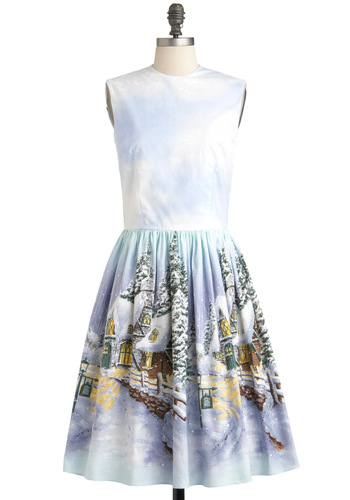 It's a Wonderland Life Dress by Bernie Dexter - Cotton, Long, Blue, Multi, Print, A-line, Sleeveless, Winter, Holiday, Holiday Party, Vintage Inspired, 50s