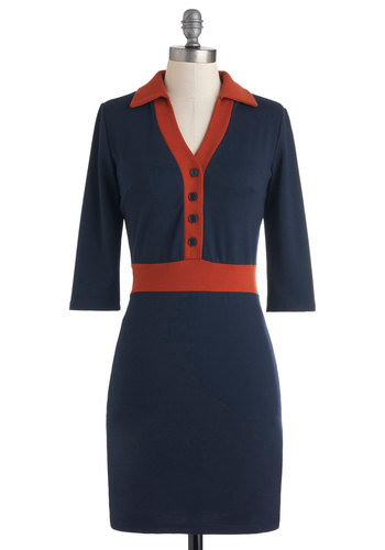 Driving Downtown Dress - Blue, Buttons, Casual, Vintage Inspired, 3/4 Sleeve, Fall, Mid-length, Orange, 60s, Shift