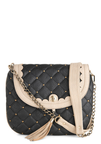 Life of Luxe Bag by Darling - Faux Leather, Black, Tan / Cream, Chain, Quilted, Scallops, Tassles, Casual, Vintage Inspired