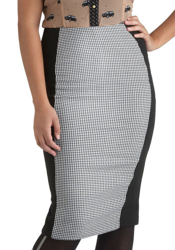 High Time to Rise Skirt - Long, White, Houndstooth, Work, Pencil, Pinup, High Waist, Multi, Black