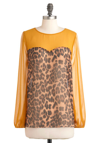 Out in Fierce Top - Chiffon, Sheer, Yellow, Brown, Black, Animal Print, Girls Night Out, Long Sleeve, Mid-length