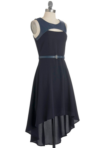 Saying Hi Low Dress - Mid-length, Blue, Solid, Cutout, Party, Sleeveless, Belted, High-Low Hem, Eco-Friendly