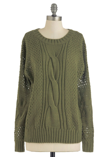 All in Olive Sweater - Green, Solid, Knitted, Mid-length, Long Sleeve, Casual, Fall, Scholastic/Collegiate, Tis the Season Sale