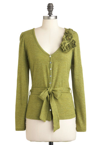 Greenhouse Party Cardigan - Mid-length, Green, Solid, Buttons, Flower, Long Sleeve, Work, Casual, Scholastic/Collegiate