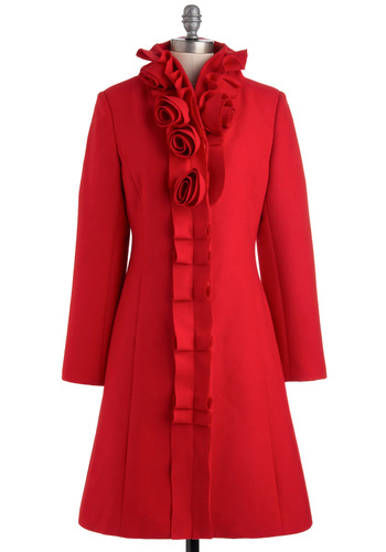 Bouquets of Fun Coat by Pink Martini - 3, Red, Solid, Buttons, Pockets, Long Sleeve, Party, Holiday Party, Vintage Inspired, Winter, Long