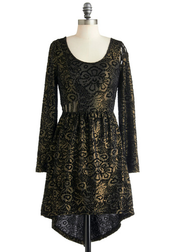 History Club Gala Dress by Ladakh - Short, Black, Gold, Floral, Cutout, Holiday Party, High-Low Hem, Long Sleeve, French / Victorian