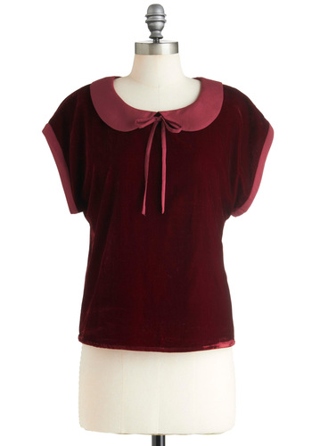 Lesson in Luxe Top by Ladakh - Mid-length, Red, Solid, Bows, Peter Pan Collar, Short Sleeves, Holiday Party, Winter