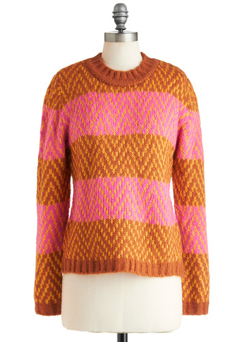 Spice of Stripes Sweater - Mid-length, Pink, Stripes, Knitted, Orange, Long Sleeve, Fall