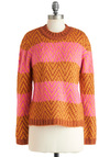 Spice of Stripes Sweater by Ladakh - Mid-length, Pink, Stripes, Knitted, Orange, Long Sleeve, Fall