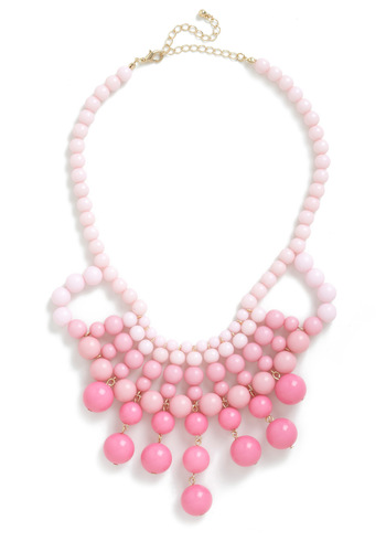 What About Bauble? Necklace - Statement, Pink, Beads, Ombre, Party