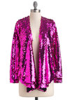 Oh What a Nightclub Jacket - Short, Pink, Solid, Sequins, Party, Girls Night Out, Vintage Inspired, 80s, Long Sleeve, 1