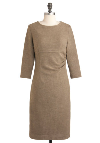 Ceramics Show Dress - Long, Tan, Solid, Work, Sheath / Shift, 3/4 Sleeve, Fall, 50s, Holiday Sale