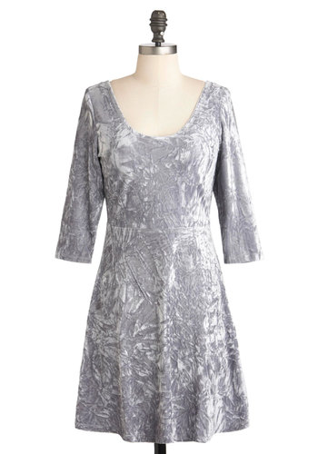 Pewter Perfection Dress - Silver, Solid, Sheath / Shift, 3/4 Sleeve, Short, Holiday Party, Scoop