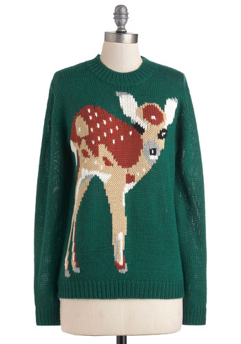 Fawn Trend Sweater - Green, Brown, Black, White, Knitted, Casual, Vintage Inspired, Long Sleeve, Mid-length, Print with Animals, Holiday, Winter