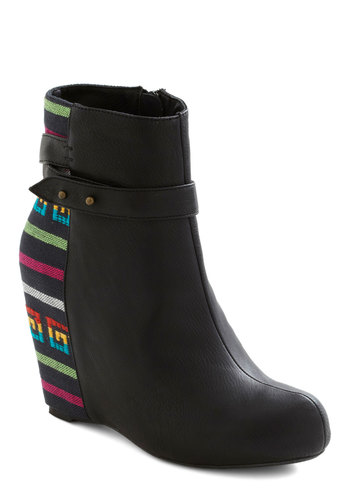 Meet Me in Denver Bootie in Rainbow - Wedge, Black, High, Platform, Embroidery