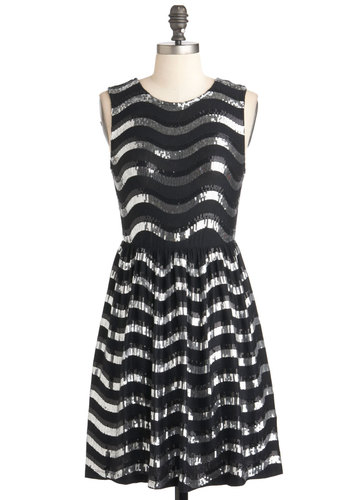 Mirror Mirror Ball Dress - Short, Silver, Sequins, Holiday Party, A-line, Sleeveless, Black