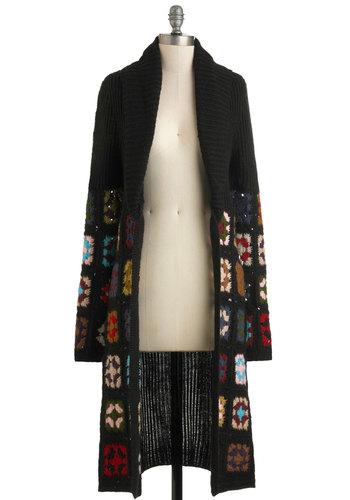 Patch a Plan Cardigan - Black, Multi, Knitted, Casual, Long Sleeve, Fall