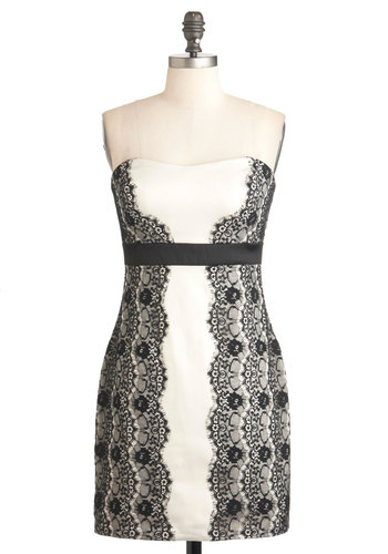 Amaretto Creme Dress - Black, White, Lace, Special Occasion, Party, Luxe, Strapless, Mid-length, Empire