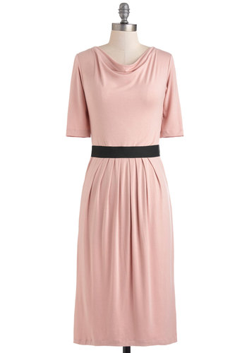 Photo Walk Dress - Jersey, Long, Pink, Black, Casual, Maxi, Short Sleeves, Vintage Inspired, Pastel