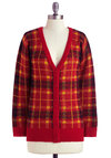 Great Debate Cardigan - Yellow, Black, Plaid, Long Sleeve, Casual, Scholastic/Collegiate, Fall, Red, Mid-length, Tis the Season Sale