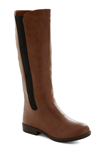 A Tribe Called Equestrian Boot - Black, Flat, Casual, Brown