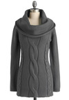 Cable Car Cowl Sweater in Fog - Grey, Solid, Casual, Long Sleeve, Knitted, Rustic, Mid-length, Exclusives, Tis the Season Sale