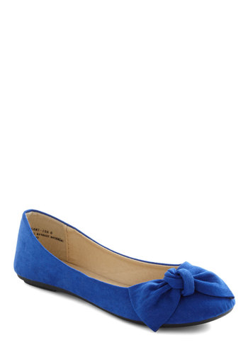 All Sapphired Up Flat - Blue, Solid, Bows, Flat, Casual